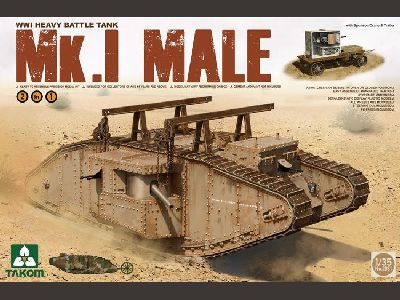 2031    WWI Heavy Battle Tank Mk.I Male 2 in 1 (with crane and flat trailer)